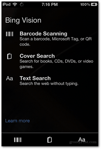 bing vision scan types barcode cover text search info search download