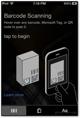 barcode scanning tap to begin ios microsoft bing