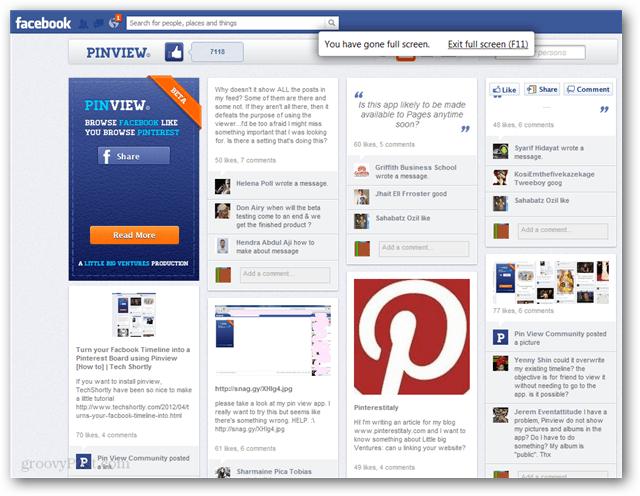 pinterest style facebook browsing