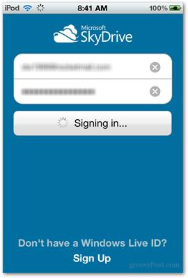 skydrive splash screen microsoft ios apps app login safe