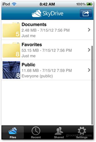 skydrive microsoft ios app screen folders files cloud upload sync