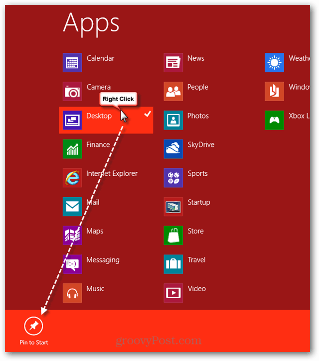 Pin Metro Apps to Start Menu page