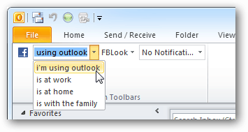 update facebook status from Outlook