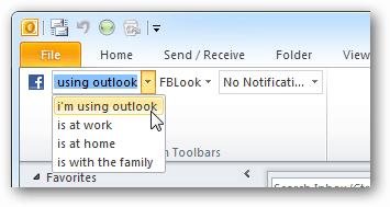 update facebook status from Outlook