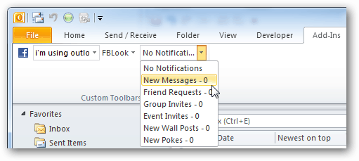 facebook notofications in outlook