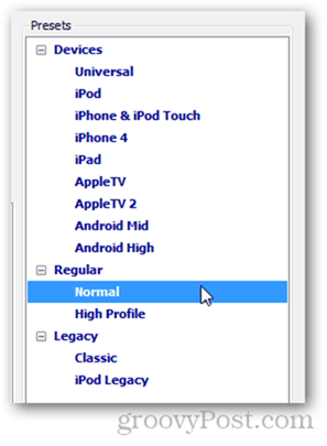 handbrake presets iphone ipod ios android apple tv universal normal ipod legacy classic high profile handbrake rip dvd