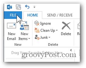 Outlook 2013 Add Week Numbers Calendar - Click File