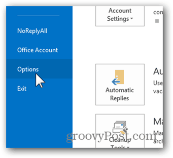 Outlook 2013 Add Week Numbers Calendar - Click Options
