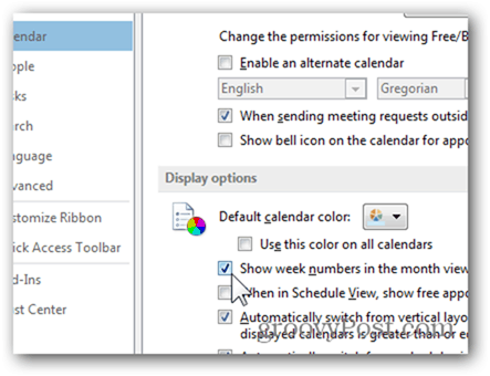 Outlook 2013 Add Week Numbers Calendar - Click Show week numbers in month view