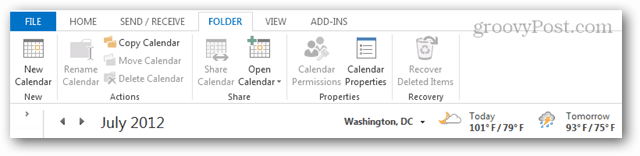 outlook share calendar and weather bar