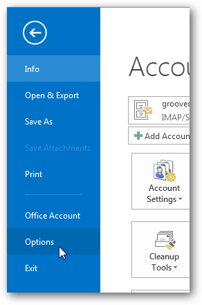 options button in outlook 2013