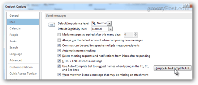 mail > send messages > auto-complete list