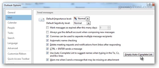 mail > send messages > auto-complete list