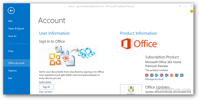 office 2013 logged out