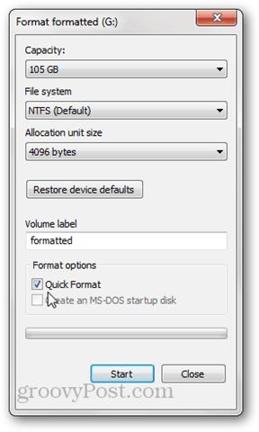 quick format vs. full format