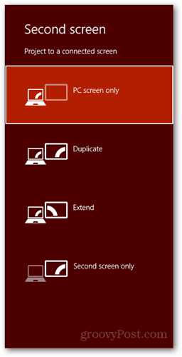 windows 8 keyboard shortcut connect new display dialog pc screen duplicate extend second screen only