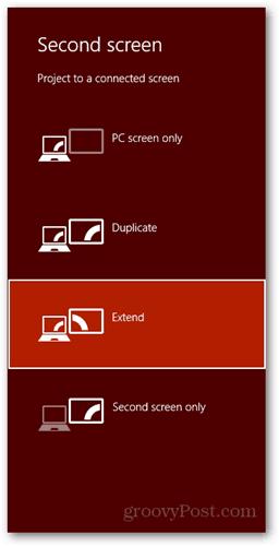 windows 8 keyboard shortcut connect new display dialog pc screen duplicate extend second screen only extend extend extend