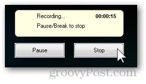 recording pause break popup notification