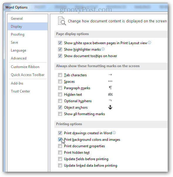 display menu print background colors
