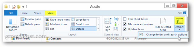 explorer ribbon options change folder and search options in windows 8