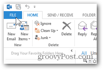 Add Mailbox Outlook 2013 - Click File