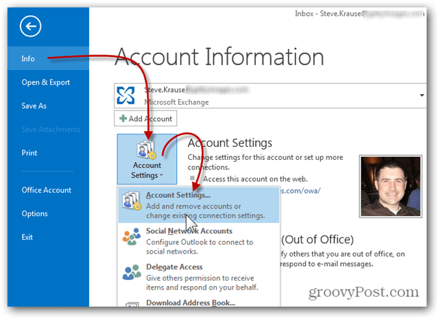 Add Mailbox Outlook 2013 - Click Info Account Settings