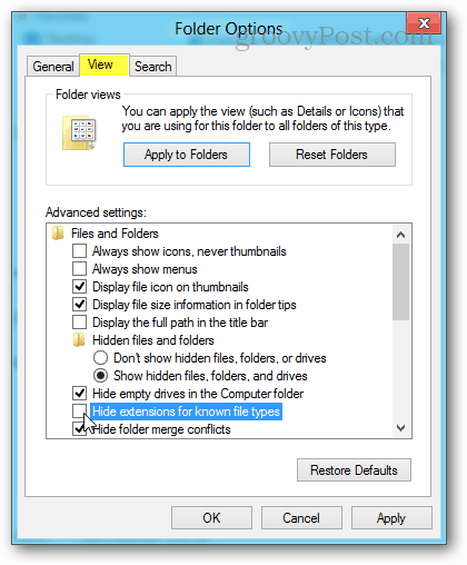 view folder options in windows 8