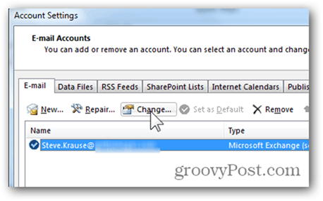 Add Mailbox Outlook 2013 - Click Change