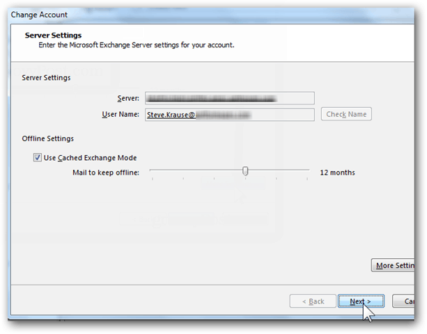 Add Mailbox Outlook 2013 - Click Next