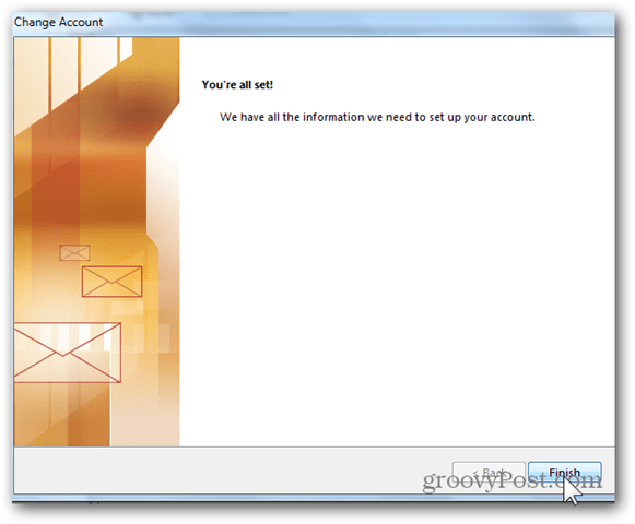 Add Mailbox Outlook 2013 - Click Finish