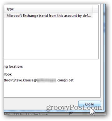 Add Mailbox Outlook 2013 - Click Close