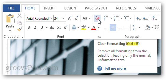 clear formatting shortcut key office 2013