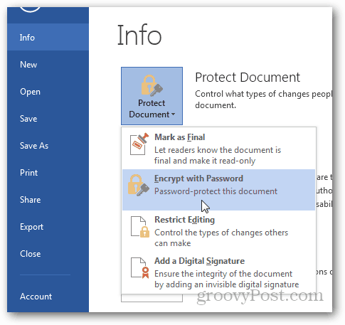 Password Protect and Encrypt Office 2013 Documents : Click Encrypt with Password