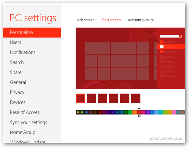 access windows 8 background color and image settings