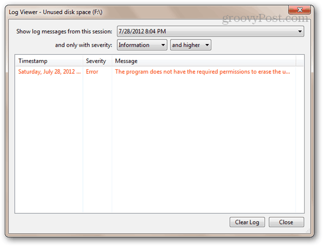 The program does not have the required permissions to erase the unused space on disk