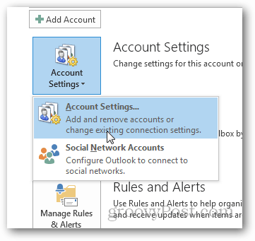 how to create pst file for outlook 2013 - click account settings