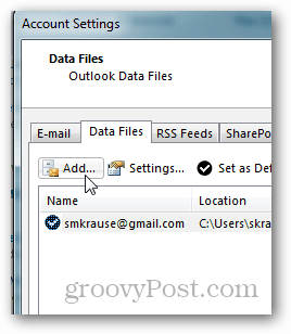 how to create pst file for outlook 2013 - click add
