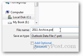 how to create pst file for outlook 2013 - name pst