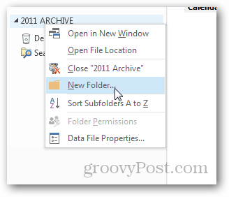 how to create pst file for outlook 2013 - new folder