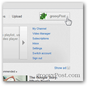 Link a YouTube Account to a New Google Account - Click Account