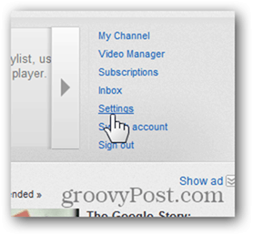 Link a YouTube Account to a New Google Account - Click Settings