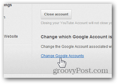 Link a YouTube Account to a New Google Account - Click Change Google Accounts