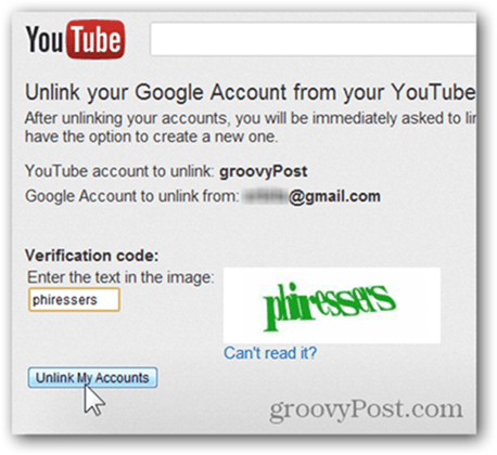 Link a YouTube Account to a New Google Account - Click Unlink Accounts