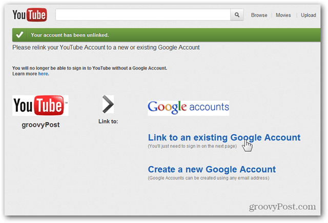 Link a YouTube Account to a New Google Account - Click Link to existing Account