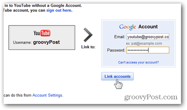 Link a YouTube Account to a New Google Account - enter account and password