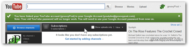 Link a YouTube Account to a New Google Account - Confirmation -- Account Migrated