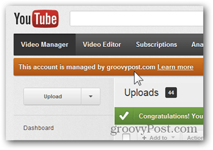 Link a YouTube Account to a New Google Account - Confirmation -- Google Apps managed account