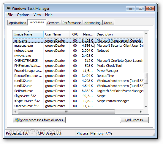 Windows Task Manager mmc.exe