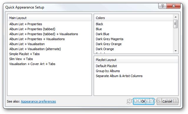 foobar2000 quikc appearance setup layout colors playlist layout looks