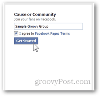 facebook page create facebook page name get started